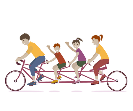 Vector illustration of family enjoying tandem bicycle ride. Family teamwork on a multiple seat bike. Lifestyle vector flat design Illustration