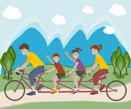 family outside: Vector illustration of family enjoying tandem bicycle ride in park outside. Family teamwork on a multiple seat bike. Lifestyle vector flat design