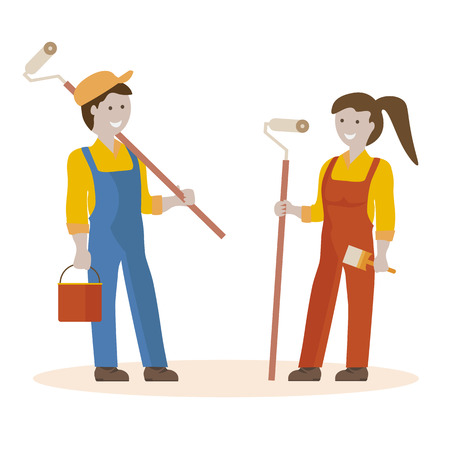 house painter: House painter vector flat characters with paint equipment. Vector flat illustration. Team of painters