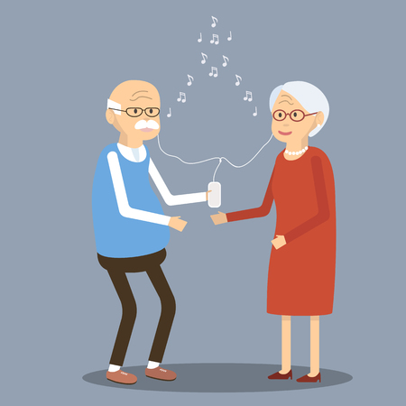 old phone: Elderly couple listening to music in the smartphone. Old people using modern technology. An elderly man and woman smiling listening to music through earphones and a mobile phone. illustration. Flat design characters.