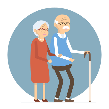 Illustration happy senior man woman family. Old people couple walking together. Flat characters happy retired elderly senior age couple. Social concept old people. illustration old love couple