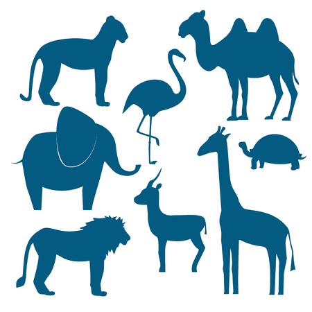 giraffe silhouette: animals set including giraffe, turtle elephant lion leopard flamingo gazelle camel. Flat disign. illustration silhouette of animals