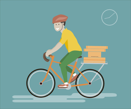 courier man: illustration of bike courier. Courier man riding bicycle with delivery box. Courier bicycle delivery service. Courier concept. Courier delivery icon