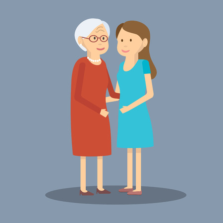 mature old generation: illustration mother and daughter. Adult daughter and elderly mother are embracing. Flat design. Adult daughter and elderly mother. Two generations of women adult daughter and her elderly mother Illustration