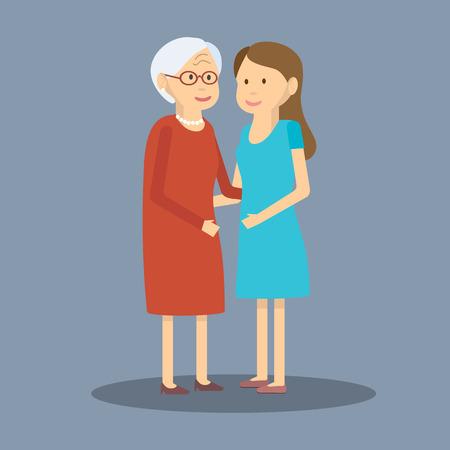 ilustración madre e hija. hija adulta y anciana madre están adoptando. Diseño plano. hija adulta y anciana madre. Dos generaciones de mujeres adultas y la hija a su madre mayor Ilustración de vector
