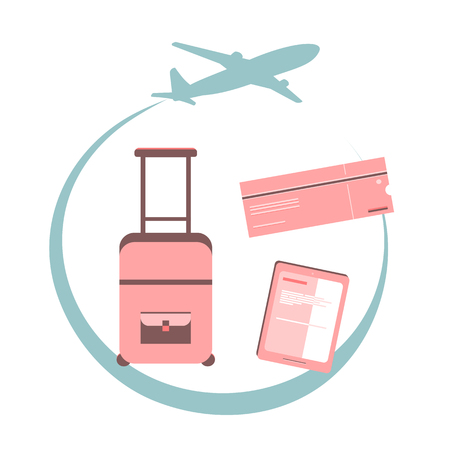 fly around: Travel concept illustration. Airplane fly around the planet Earth. Concept of international business travel and tourism. Illustration. Flat design.  Illustration of travel with elements in the plane, ticket, suitcase, smartphone, tablet, online