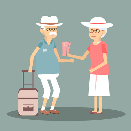 happy couple: An elderly couple travels. Illustration of a happy traveling pensioners. Characters in the old man and woman on the tour. Happy senior couple traveling around Europe. flat design