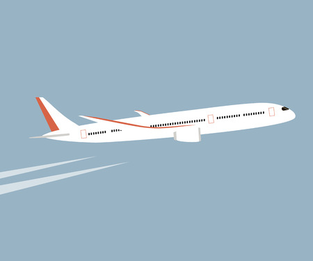 bunner: Airplane flying in the blue sky background. Vector flat style illustration. White airplane in the sky.