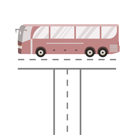 coach bus: Bus on the road. Public transport vehicle intercity longer distance tourist coach bus. Vector illustration flat design isolated Illustration