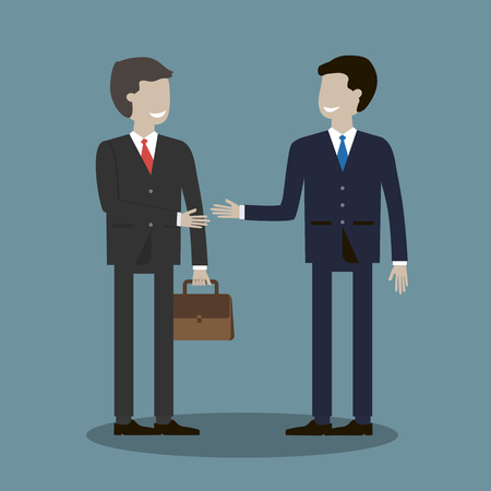 trusted: Business deal. Business people shaking hands. Trusted partnership. Vector illustration. Flat style characters Illustration