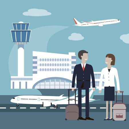 two people meeting: Business travellers waiting for their flight at airport. Two business people meeting at airport. Business people travel airport concept. Vector flat style design illustration