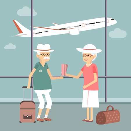 retired: Senior couple with bags at airport. Vector concept illustration of older travelers and tourism Illustration
