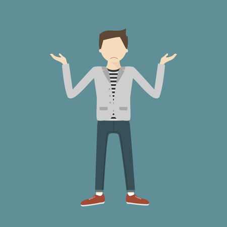 man standing alone: The young man shrugs sadly. A young hipster man gesturing with open arms. Vector flat design illustration isolated.