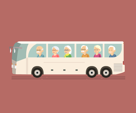 older couple: Illustration of group older people travel by bus. Happy senior couple in travel moment on sightseeing bus. Concept of active elderly during retirement. Wanderlust concept with mature people spending free time together. Old woman man traveling vector flat