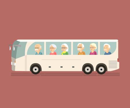 Ilustración de un grupo personas mayores viajan en autobús. Pares mayores felices en el momento de viaje autobús de turismo. Concepto de ancianos activos durante la jubilación. Wanderlust concepto con gente madura pasar el tiempo libre juntos. el hombre de la mujer mayor viajando vector plana