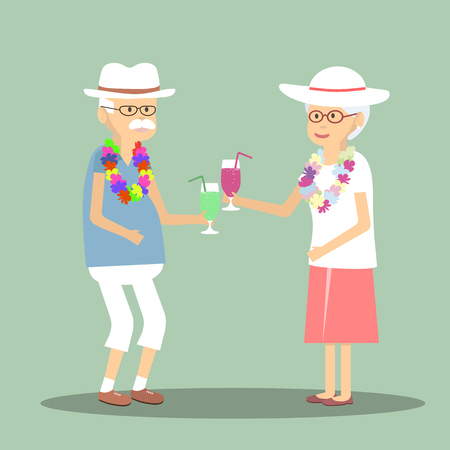retire: An elderly couple drinking a cocktail in traveling. Vector iullustration of elderly couple drinking a cocktail. Flat design characters of senior couple with cocktails. An elderly couple resting well in the journey Illustration