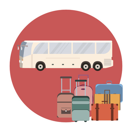 coach bus: Tourist coach bus concept. Travel bus and luggage banner. Vector illustration