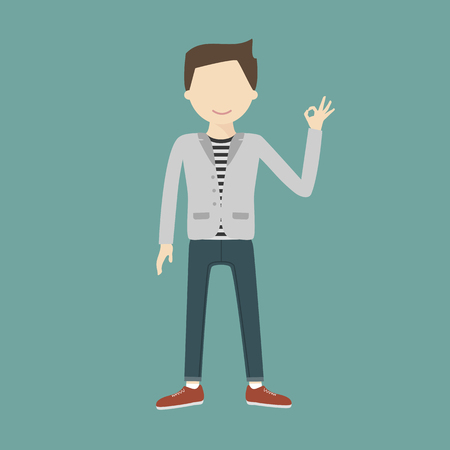 expressing positivity: A happy young man gesturing OK. Sign vector flat design illustration isolated. Business, startup, gesture and people concept. Happy businessman or creative male office worker showing OK hand sign