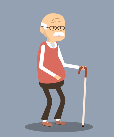 An elderly man with glasses and walking cane. Vector illustration old man character Vettoriali