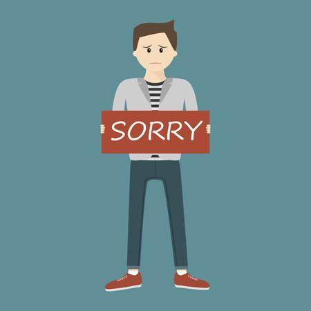 Sad man holding Sorry sign. Vector illustration flat design