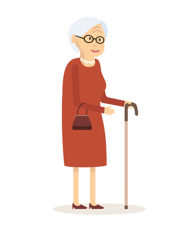 older woman smiling: Old woman with cane. Senior lady with glasses walking. Vector illustration. Flat style design. An elderly woman with a handbag and a cane to walk.