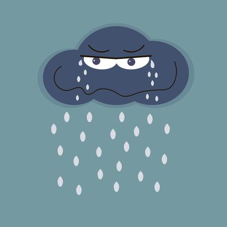 hailstorm: Sad cloud and rain. Rainy days concept. Vector illustration