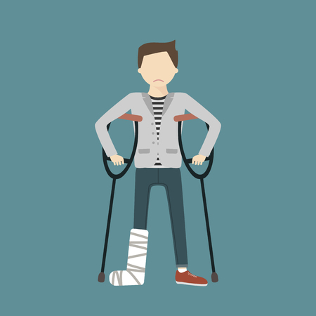 crutch: Man with crutches and a cast on a broken leg flat design illustration