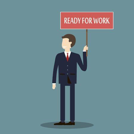 rookie: Businessman ready for work. Employment, recruitment concept illustration flat design.