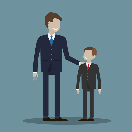 promising: Businessman and boy. Partnership without age concept. Or a father with his son, friends and partners illustration flat design.