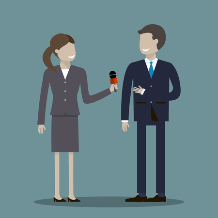 governor: A woman journalist with microphone is interviewing men businessman, politician or another professional illustration flat design