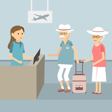 空港イラスト フラット デザインにチェックイン ・ カウンターを待機しているキューのシニア カップル