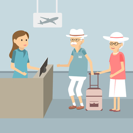 Senior couple in queue waiting check-in counters at airport illustration flat design