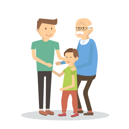 three generations: Illustration of three generations of men of different ages. Father son and senior grandfather.