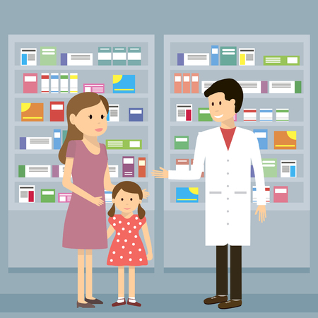 child care: Man pharmacist shows a woman with a child medicine in the pharmacy. Health care conceptual background.