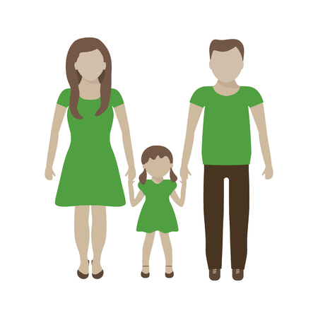 responsibility: Family in earth colors. Eco green concept element design. Save world vector illustration