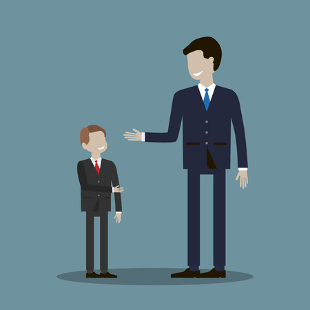 shakes: Adult male businessman shakes hands with a child. The partnership without age concept. Vector illustration flat design