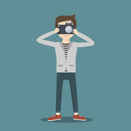 photoshoot: Hipster man photographer with camera. Vector illustration flat character. Traveller, journalist, reporter at work.