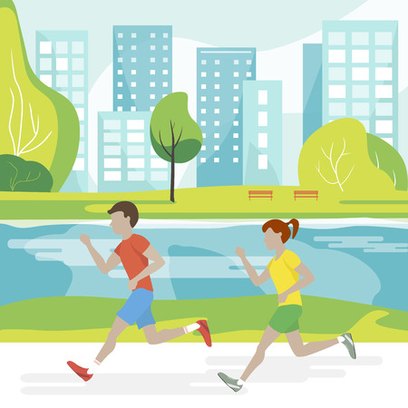 People jogging in the park. Couple man and woman running. Vector illustration