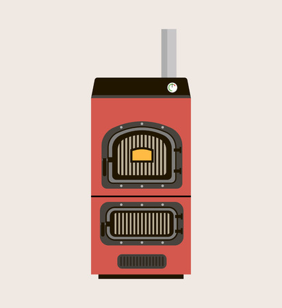 solid: House heating icon Vector illustration Solid fuel boiler. Illustration