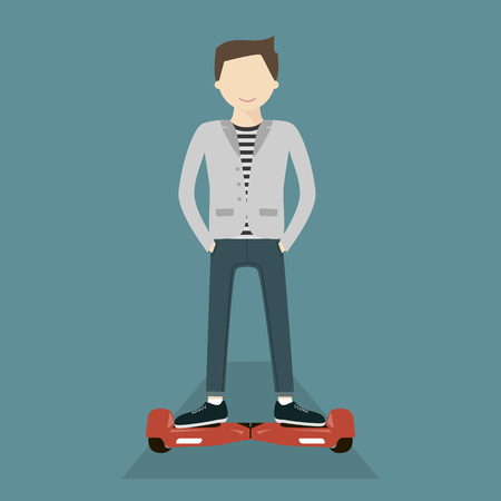 Young man smiling on hoverboard. Self-balancing two wheeled electric Scooter battery-powered. Vector flat style illustration