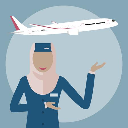 女性乗務、ヒジャーブのイスラム教徒の女性。イスラム教徒の航空会社。平面背景にスチュワーデス。アラブの空気ホステス アイコン。ベクトル イラスト フラット デザイン