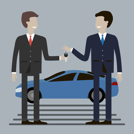 dealership: Businessman buying car. Dealership agent giving car key to a customer with a car in the background. Concept of car rental, sale, gift, reward. Vector illustration flat design