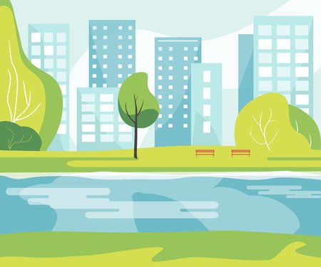 wooden bench: City park with a lawn, river, trees, lush grass with a wooden bench on the background of the city with business skyscrapers tall buildings. Vector illustration flat design. Urban landscape Illustration