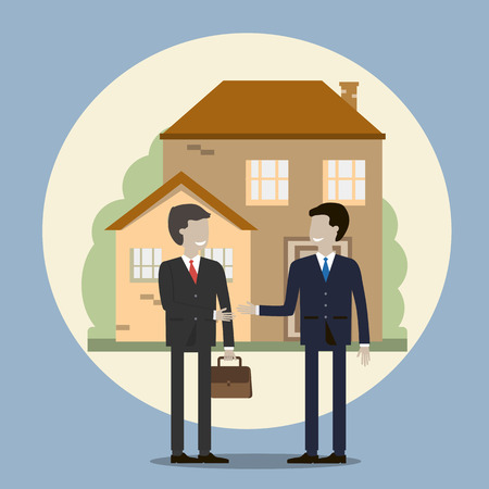 realtor: Business people shaking hands. Businessman buying a house. The realtor sells the house and makes a deal. Vector illustration flat design.