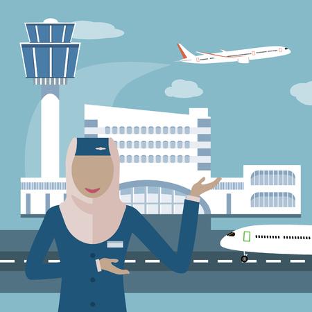 女性乗務、ヒジャーブのイスラム教徒の女性。イスラム教徒の航空会社アイコン。空港と飛行機の背景にスチュワーデス。アラブ航空のスチュワーデス。ベクトル イラスト フラット デザイン