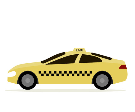 Taxi cab isolated. Yellow car taxi driver icon. Vector illustration flat design