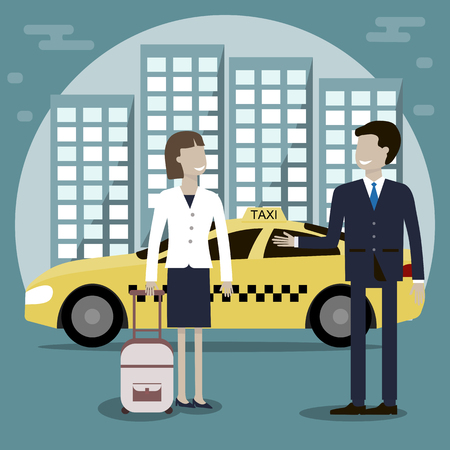 bunner: The taxi driver offers a woman passenger services. Yellow taxi cab in the background of the city. Vector illustration flat design