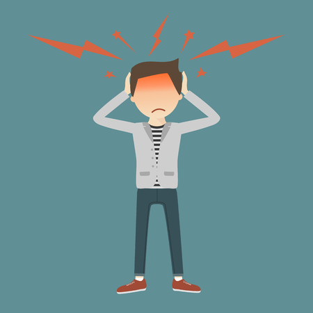 migraine: A young man grabs his hands to head, with symptoms of headache. Vector illustration flat design. Migraine attack concept