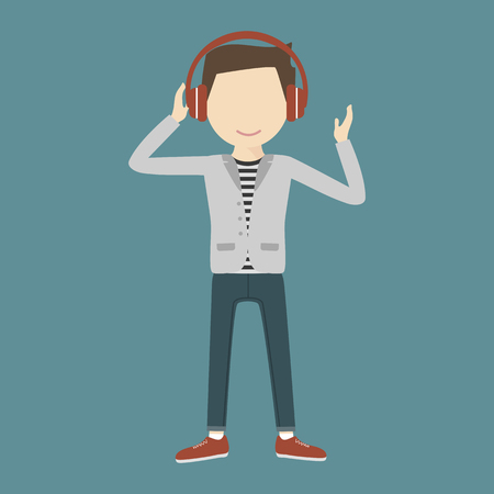 young man smiling: Young man smiling listening music through headphones on his head. Cool sound concept. Vector illustration flat design