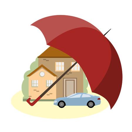 Una casa y un coche bajo la protección de la sombrilla. El concepto de seguro y la seguridad de la propiedad. ilustración vectorial diseño plano Ilustración de vector